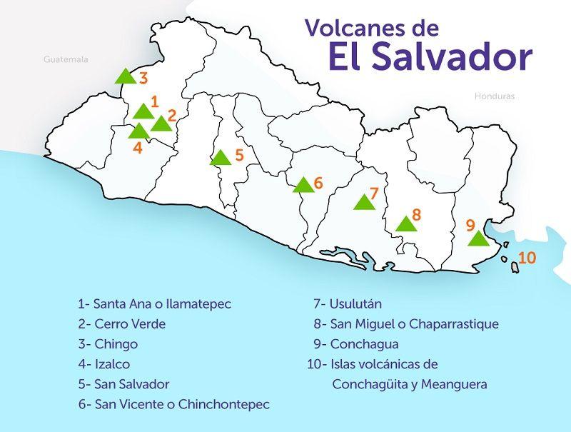 Mapa de El Salvador con Volcanes