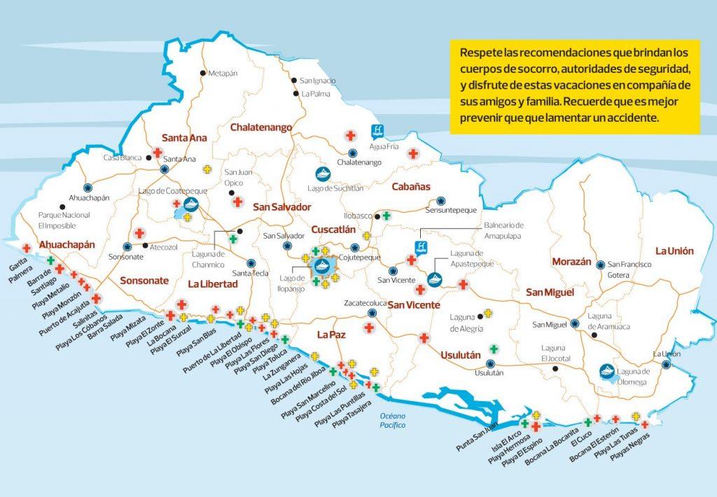 Mapa de Playas de El Salvador